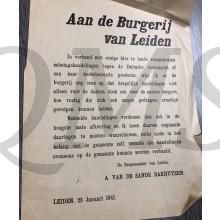 Flyer/poster aan de burgerij van Leiden 23 Jan 1941