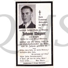 In Memoriam Karte/Death notice Johann Wagner
