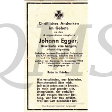 In Memoriam Karte/Death notice Johan Egger