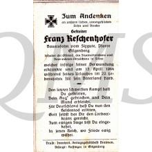 In Memoriam Karte/Death notice Franz Reschenhofer