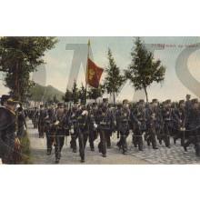 Prent briefkaart 1914 7e Regiment op Marsch