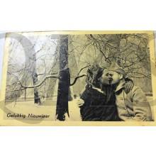 Prent briefkaart mobilisatie 1939 Gelukkig Nieuwjaar (Kussend stel)