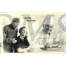 Prent briefkaart mobilisatie 1939 Gelukkig Nieuwjaar vrouw bellen kok kalkoen