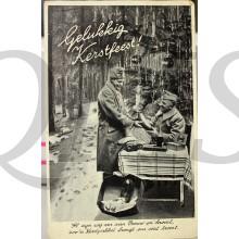 Prent briefkaart mobilisatie 1939 Gelukkig kerstfeest, al zijn wij ver van vrouw en kroost