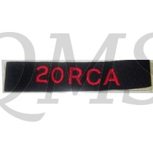 Shoulder title 20 Royal Canadian Artillery 20 RCA