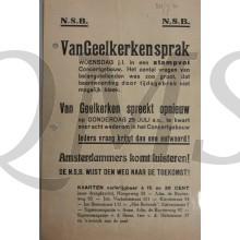 Flyer Groote Openbare Vergadeing NSB Van Geelkerken spreekt opnieuw 1940