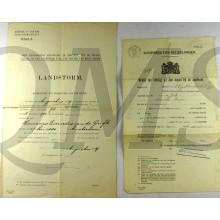 Landstorm Amsterdam 1919 Kennisgeving inschrijving en bewijs van ontslag