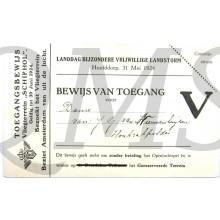 Bewijs van toegang BVL Landdag Hoofddorp 31 mei 1924