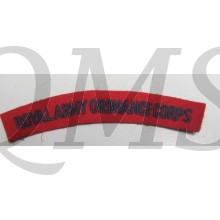 The title is red felt with blue detail and have a cotton backing