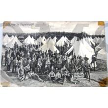 Prent briefkaart kamp in Vogelvlucht 1915 (Harskamp)