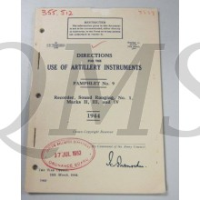Pamphlet No 9 Use of  Artillery instruments, Recorder sound Ranging,  No 1 Mark II,III and IV