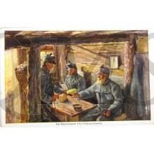 AnsichtsKarte (Mil. Postcard) Im Unterstand (die Feldpost kommt)