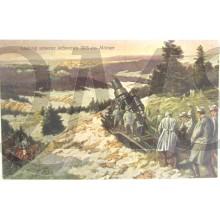 Postkarte 1914 Ladung unserer schweren 30,5 Morser