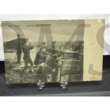 Prent briefkaart 1917 Aan 't vuren Legerplaats Oldebroek