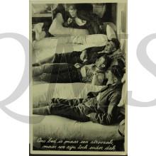 Prent briefkaart 1940 mobilisatie Ons bed is slechts een stroozak maar we zijn toch onder dak
