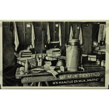 """Prent briefkaart mobilisatie 1940 Uit mijn diensttijd, m'n maaltijd en mijn """"maffie"""""""