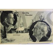 Prent briefkaart mobilisatie 1940 Gelukkig Nieuwjaar soldaat en moeder