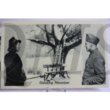 Prent briefkaart mobilisatie 1940 Gelukkig Nieuwjaar soldaat en meisje bij besneeuwd bankje