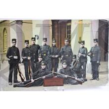 Prent briefkaart  1905 Grenadiers op Wacht