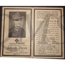 In Memoriam Karte/Death notice Albrecht Durrer