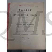 Boekwerkje Tarieven voor het gewoon Militair vervoer 1912