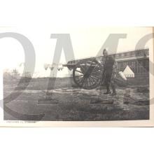 Prent briefkaart 1940 mobilisatie Legerplaats bij Oldebroek veldgeschut