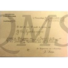 Inschrijvingsbewijs J.R. Gockinga Rijswijk Landstorm 15-01-1920