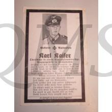 In Memoriam Karte/Death notice oberschutze Panzergrenadier Regt