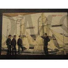 Prent briefkaart 1905 Instructie zeilschip