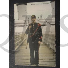 Prent briefkaart  1905 Marinier der 2e klasse op schildwacht
