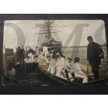 Prent briefkaart 1905 Terug van het roeien