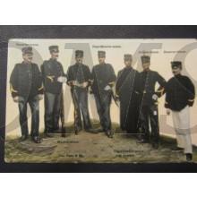 Prent briefkaart 1905 alle verschillende tenuen