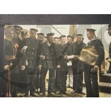 Prent briefkaart 1905 de facteur aan boord