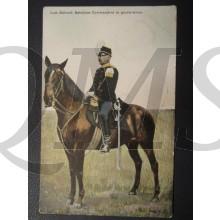 Prent briefkaart 1905 Luit-Kol Batallion commandant in Groote tenue