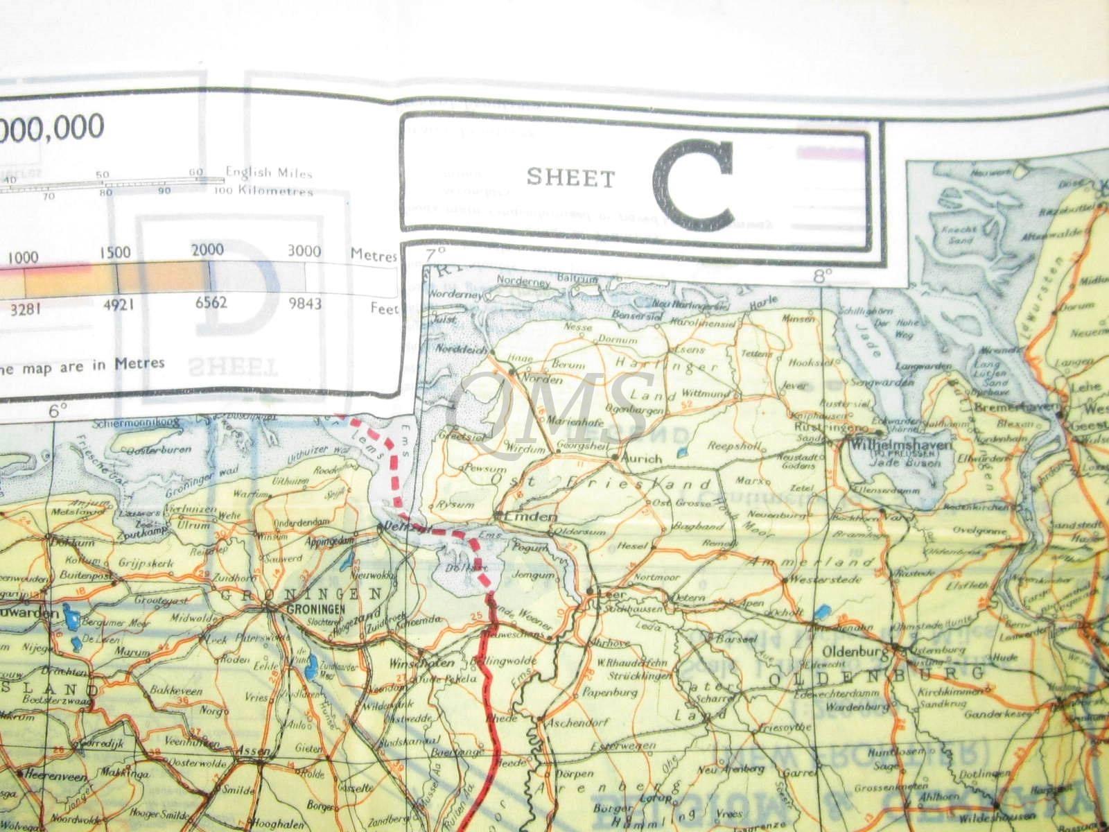 Map Of France And Holland Belgium.Cloth Escape Map European Theater 1943 Series C D Holland Belgium