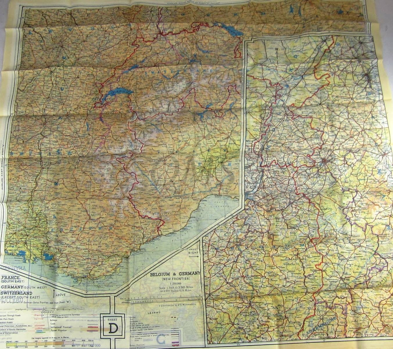 Map France 945.Cloth Escape Map European Theater 1943 Series C D Holland Belgium