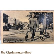 Prent briefkaart mobilisatie 1940 Tweemaal 24 uur verlof, voor onze jongens een reuzenbof
