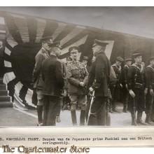 Press photo , WW1 Western front,  Japanese prince Fuchimi visiting british war vessel