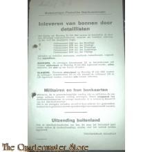 Mededeelingen Plaatselijke Distributiedienst Amersfoort 23 juli 1945 inleveren bonnen bakkers en slagers