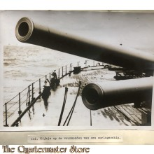 Press photo , WW1 Western front, canon barrels of a Navy vessel