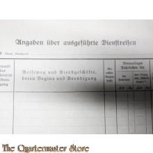 WH Angaben uber ausgefuhre Dienstreisen 1944 (Form WH  for military travel 1944)