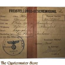Freistellungs-bescheinigung Schanzarbeiten Einsatzstab der NSDAP abscnitt Nord 1944/45