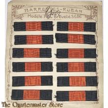 Batons op kaart Belgie WO1 Médaille de l'Yser, Medaille van de IJzer ( carton with ribbons Belgium WW1 The Yser Medal)