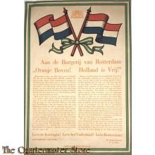 Poster 1945 Aan de burgerij van Rotterdam. Oranje Boven ! Holland is Vrij !