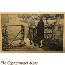 Prent briefkaart 1940 Mobilisatie Een laatste handdruk word gewisseld