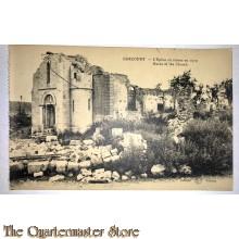 Military postcard Gercourt ruins of the Church 1919