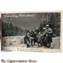 Prent briefkaart mobilisatie 1939 Gelukkig Kerstfeest!  al zijn wij ver van huis en haard