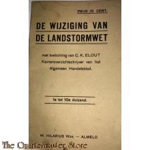 Boekje de wijziging van de Landstormwet 1934