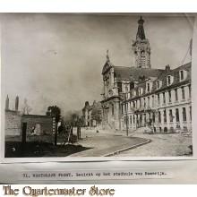 Press photo , WW1 Western front,  cityhal of Kamerijk