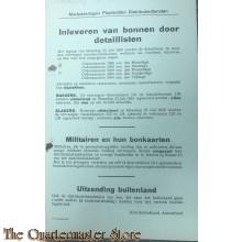 Affiche inleveren van bonnen door detaillisten 1945